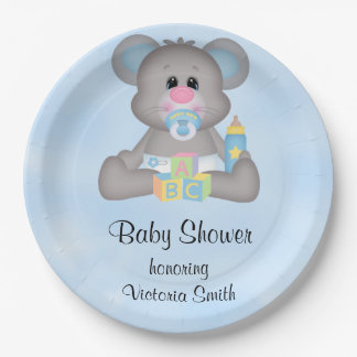 Baby Shower Baby Boy Mouse Paper Plate