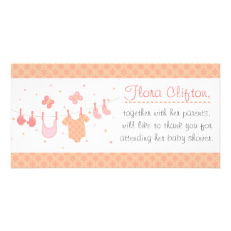 Baby shower: Baby clothes on clothesline Personalised Photo Card