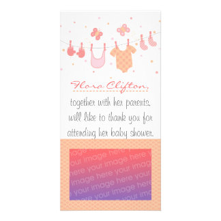 Baby shower: Baby clothes on clothesline Photo Greeting Card