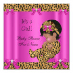 Baby Shower Baby Cute Girl Leopard Hot Pink Gold 13 Cm X 13 Cm Square Invitation Card