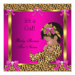 Baby Shower Baby Cute Girl Leopard Pink Gold 2 13 Cm X 13 Cm Square Invitation Card