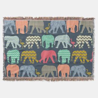 baby shower baby elephants and flamingos throw blanket