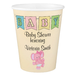 Baby Shower Baby Girl Elephant Paper Cup