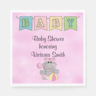 Baby Shower Baby Girl Hippo Disposable Napkin