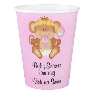 Baby Shower Baby Girl Monkey Paper Cup