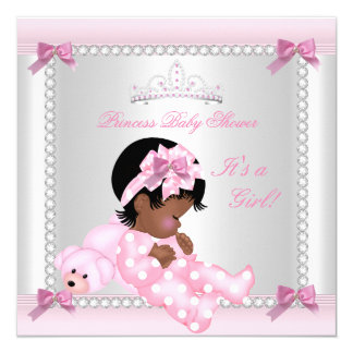 Baby Shower Baby Girl Pink Bear African American 13 Cm X 13 Cm Square Invitation Card