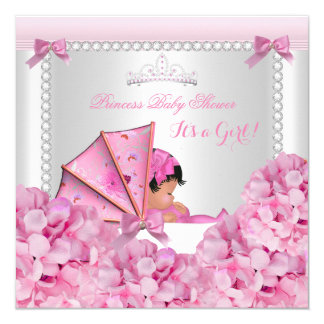 Baby Shower Baby Girl Pink Pram African American 13 Cm X 13 Cm Square Invitation Card