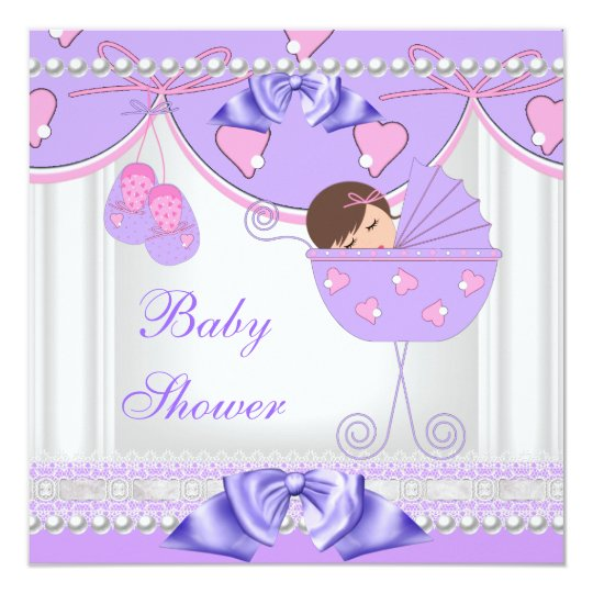 Baby Shower Baby Girl White Pink Purple Pearl