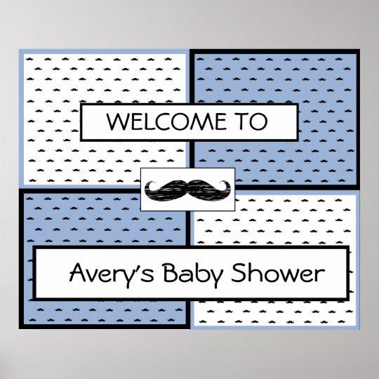 Baby Shower  Banner Poster Moustache Themed