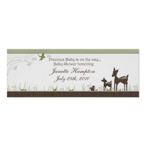 Baby Shower Banner with Deer Poster