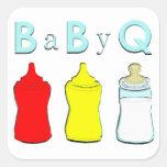 baby shower bbq square sticker