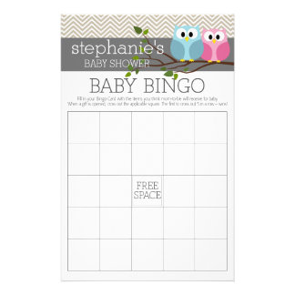 Baby Shower Bingo Game - Cute Owls Flyer