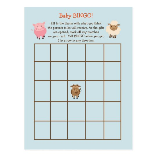 Baby Shower BINGO Game- Farm Animal Theme Postcard