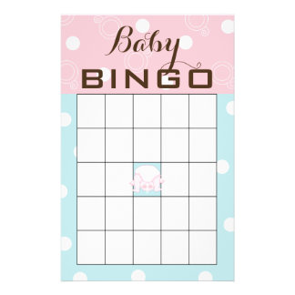 "Baby Shower BINGO ""PINK BLUE BABY"" Flyer"