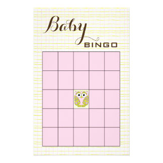 Baby Shower BINGO Pink Green OWL Flyer