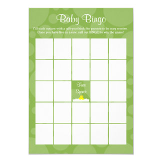 Baby Shower Bingo - Rubber Ducky Theme - Green Card