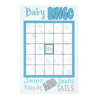 "Baby Shower BINGO ""Snips and Snails"" 14 Cm X 21.5 Cm Flyer"