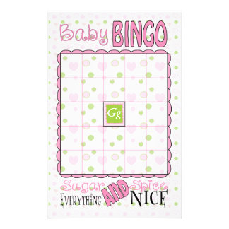 "Baby Shower BINGO ""Sugar and Spice"" Flyer"