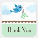 Baby shower bird neutral green thank you stickers