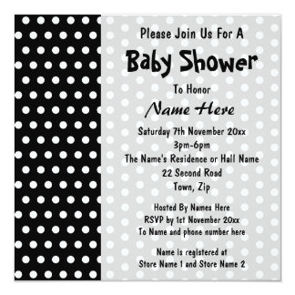 Baby Shower, Black and White Polka Dot Pattern. 13 Cm X 13 Cm Square Invitation Card