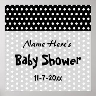 Baby Shower Black and White Polka Dot Pattern Print