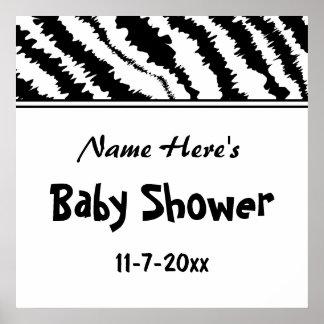 Baby Shower Black and White Zebra Pattern Custom Print