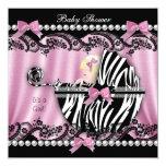 Baby Shower Blonde Haired Girl Pink Zebra 2 13 Cm X 13 Cm Square Invitation Card