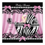 Baby Shower Blonde Haired Girl Pink Zebra 2 13 Cm X 13 Cm Square Invitation Card