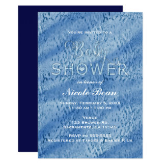Baby Shower Blue Abstract Rain Drops Invitation