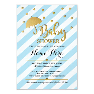 Baby Shower Blue and Gold Girl Twins Invite