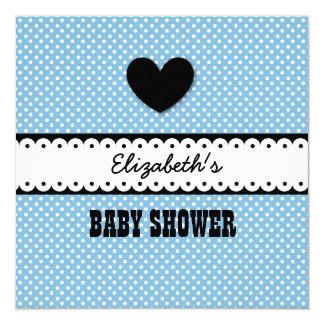 "BABY SHOWER Blue and Tiny White Polka Dots S01Z 5.25"" Square Invitation Card"