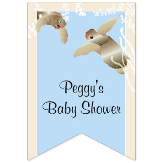 Baby Shower Blue/Baby Turtle, Swallowtail Banner
