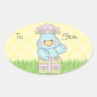 Baby Shower Blue Bird Oval Stickers