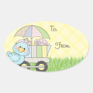Baby Shower Blue Bird Oval Sticker