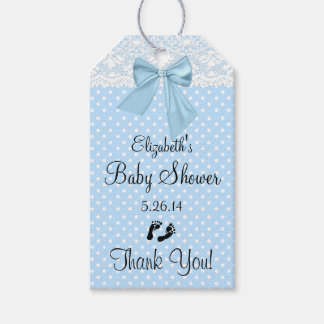 Baby Shower Blue Bow Guest Favor Thank You Gift Tags