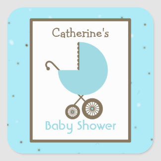 Baby Shower Blue Carriage & Robin's Egg Sticker