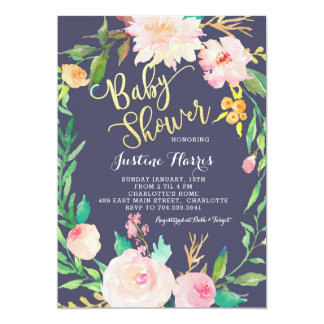 Baby Shower, Blue Flowers, Gold Invitation