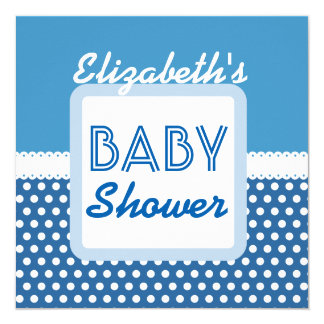 "BABY SHOWER Blue Polka Dots A20B1 Custom Name 5.25"" Square Invitation Card"
