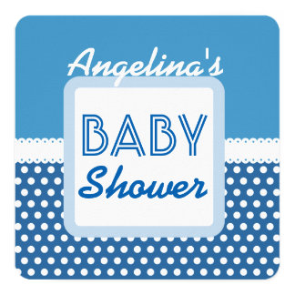 "BABY SHOWER Blue Polka Dots A20C Custom Name 5.25"" Square Invitation Card"