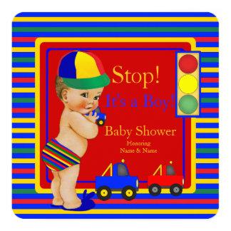 Baby Shower Blue Red Boy Toy Trucks Blonde 13 Cm X 13 Cm Square Invitation Card
