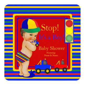 Baby Shower Blue Red Boy Toy Trucks Brunette 13 Cm X 13 Cm Square Invitation Card