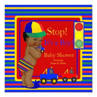 Baby Shower Blue Red Boy Toy Trucks Ethnic 13 Cm X 13 Cm Square Invitation Card