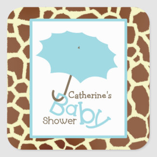 Baby Shower Blue Umbrella & Giraffe Print Square Sticker