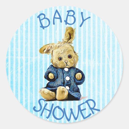 Baby Shower Blue Vintage Rabbit stickers