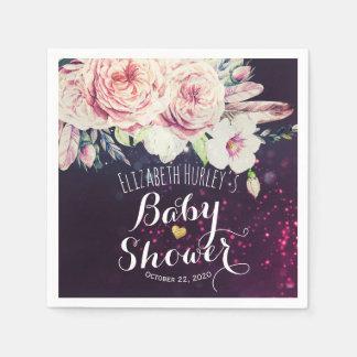 Baby Shower Boho Floral Feather Purple Bokeh Light Disposable Napkin