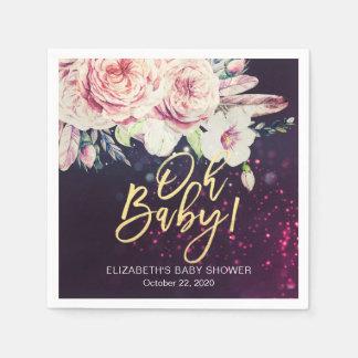 Baby Shower Boho Floral Feather Purple Bokeh Light Paper Napkin
