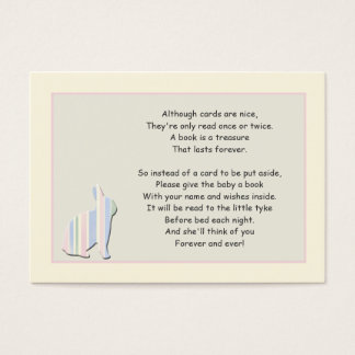 Baby Shower Book Poem Pink Insert Card