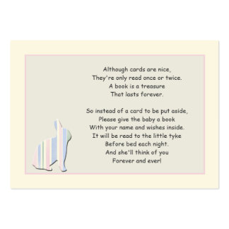 Baby Shower Book Poem Pink Insert Card Pack Of Chubby Business Cards