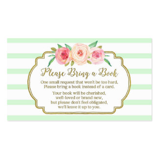 Baby Shower Book Request Card Pink Floral Mint Pack Of Standard Business Cards