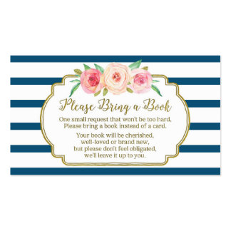 Baby Shower Book Request Card Pink Floral Navy Pack Of Standard Business Cards